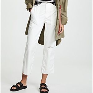 Rag and Bone White Cropped Flare Distressed Jeans